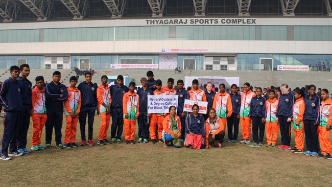 Nethra students win 32 medals and a Team championship award in IBSA sports meet.jpg